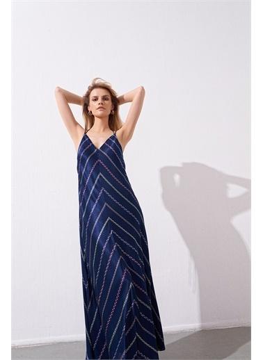 Rue Çift Askılı Sırt Dekolteli Uzun Elbise Lacivert